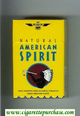 Discount Natural American Spirit Light Mellow Taste yellow cigarettes hard box