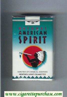 Discount Natural American Spirit Menthol Light white and green cigarettes soft box
