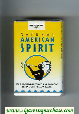 Discount Natural American Spirit Ultra Light Mellow Taste yellow and white cigarettes soft box