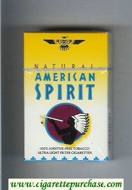 Discount Natural American Spirit Ultral Light white and yellow cigarettes hard box