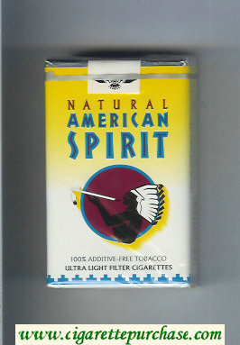 Discount Natural American Spirit Ultral Light white and yellow cigarettes soft box