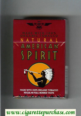 Discount Natural American Spirit Made with 100 percent Organic Tobacco Regular Full-Bodied Taste brown cigarettes hard box