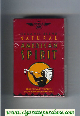 Discount Natural American Spirit Organic Blend Regular dark red cigarettes hard box