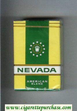 Nevada American Blend yellow and green and white cigarettes soft box
