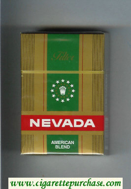Nevada Filter American Blend gold and green and red cigarettes hard box