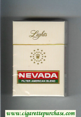 Nevada Lights Filter American Blend white and red and green cigarettes hard box