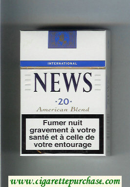 News American Blend International white and blue cigarettes hard box