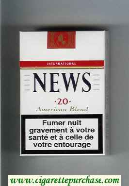 News American Blend International white and red cigarettes hard box