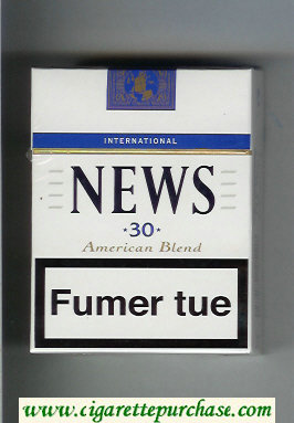 News 30 American Blend International white and blue cigarettes hard box