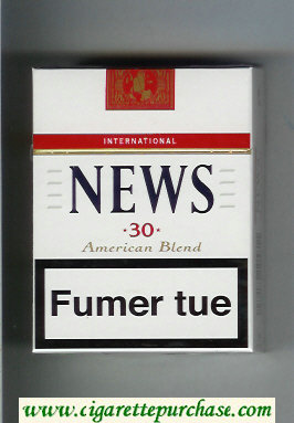 News 30 American Blend International white and red cigarettes hard box