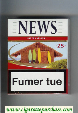 News 25 International white and red cigarettes hard box