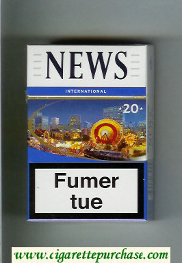 News 20 International white and blue cigarettes hard box