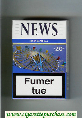 News International 20 white and blue cigarettes hard box