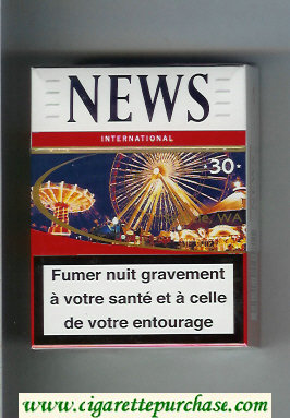 News 30 International white and red hard box cigarettes