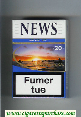 News 20 International white and blue hard box cigarettes