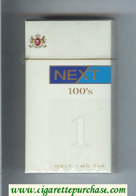 Discount Next 100s white and blue cigarettes hard box