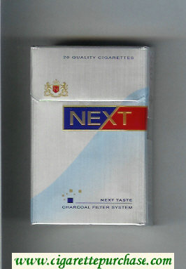 Discount Next Next Taste silver and light blue and blue and red cigarettes hard box