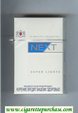Discount Next Super Lights white and blue cigarettes hard box
