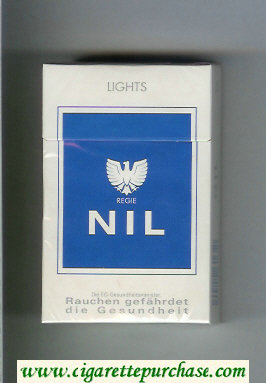Discount Nil Lights white and blue cigarettes hard box