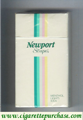 Discount Newport Stripes Menthol Lights 100s cigarettes hard box