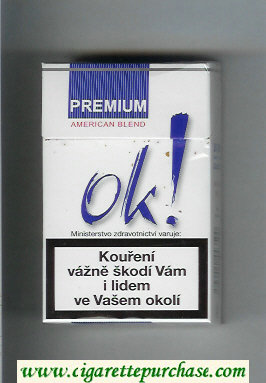 OK Premium American Blend Classic white and blue cigarettes hard box