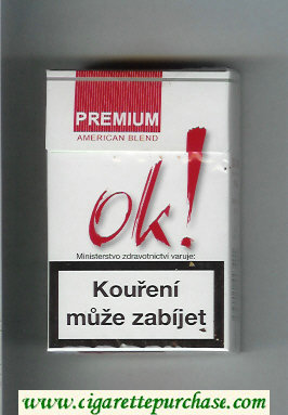OK Premium American Blend Full white and red cigarettes hard box