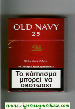 Old Navy 25 Highest Quality Tobaccos red cigarettes hard box
