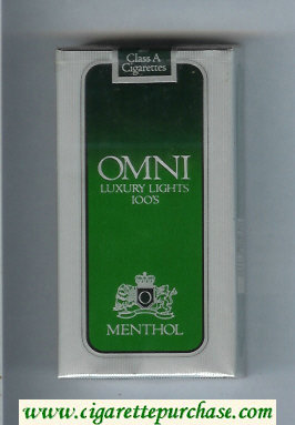 Omni 'O' Luxury Lights Menthol 100s cigarettes soft box