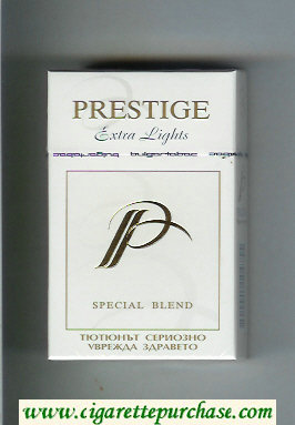 Discount P Prestige Extra Lights Special Blend cigarettes hard box