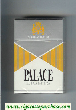 Palace Lights silver and yellow and white cigarettes hard box