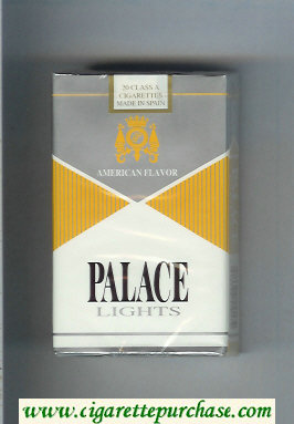 Palace Lights silver and yellow and white cigarettes soft box