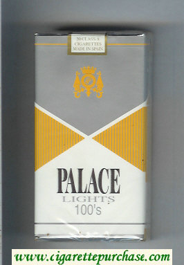 Palace Lights 100s silver and yellow and white cigarettes soft box