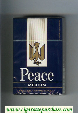 Discount Peace Medium blue and white hard box cigarettes