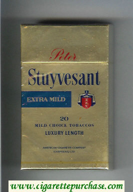 Discount Peter Stuyvesant Extra Mild 100s gold cigarettes hard box