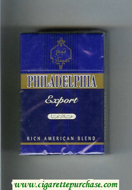 Discount Philadelphia Export Rich American Blend blue and gold cigarettes hard box