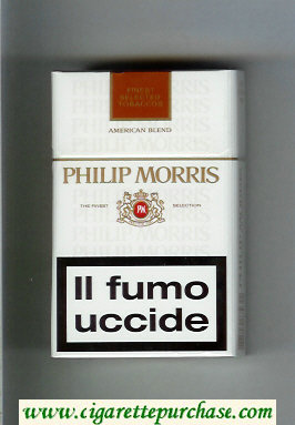Discount Philip Morris American Blend white and brown cigarettes hard box