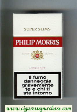 Discount Philip Morris Super Slims American Blend 100s white and red cigarettes hard box