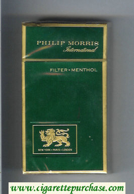 Discount Philip Morris International Filter Menthol 100s green cigarettes hard box