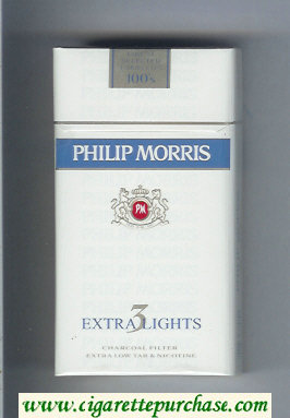 Discount Philip Morris Extra Lights 3 100s cigarettes hard box
