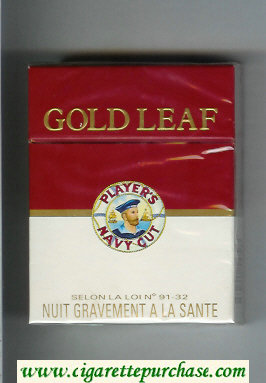 Player's Navy Cut Gold Leaf Navy Cut 25 red and white cigarettes hard box