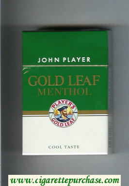 Player's Gold Leaf John Player Menthol green and white cigarettes hard box