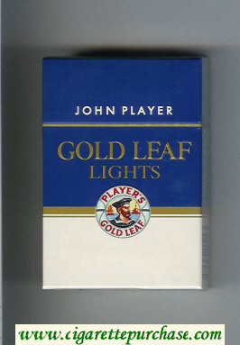 Player's Gold Leaf John Player Lights blue and white cigarettes hard box