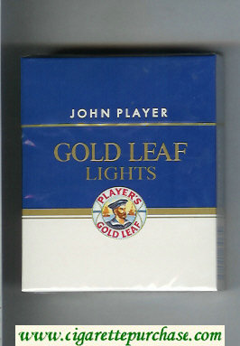 Player's Gold Leaf John Player Lights 25 blue and white cigarettes hard box