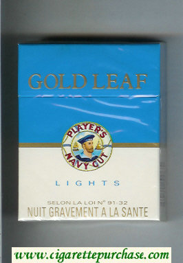 Player's Navy Cut Gold Leaf Navy Cut Lights 25 blue and white cigarettes hard box