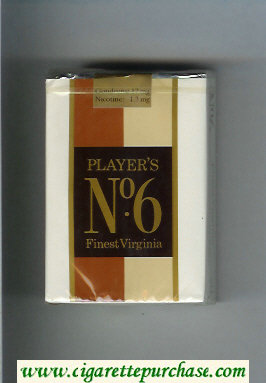 Player's No 6 Finest Virginia brown and biege and white cigarettes soft box