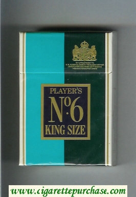 Player's No 6 light blue and green and white cigarettes hard box