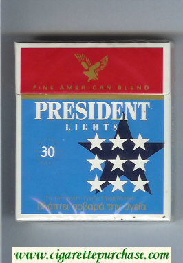 Discount President Lights Fine American Blend 30 blue and red cigarettes