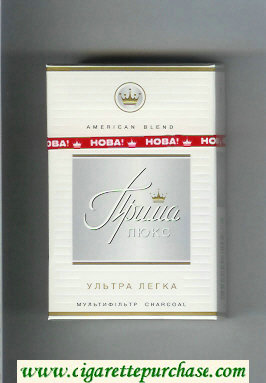 Prima Lyuks American Blend Multifiltr Ultra Legka white and grey cigarettes hard box