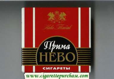 Prima Nevo red and black cigarettes wide flat hard box