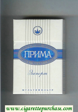Prima Eksport white and blue cigarettes hard box